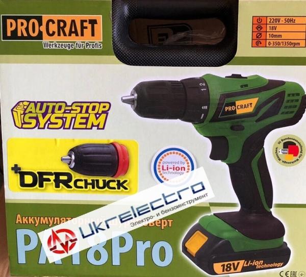 Аккумуляторный шуруповерт PROCRAFT PA 18 PRO DFR